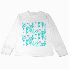 Forest Drop Blue Pink Polka Circle Kids Long Sleeve T Shirts by Mariart