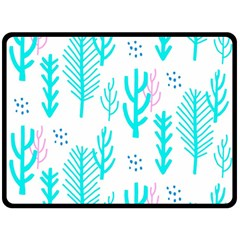 Forest Drop Blue Pink Polka Circle Fleece Blanket (large)  by Mariart