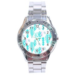 Forest Drop Blue Pink Polka Circle Stainless Steel Analogue Watch by Mariart