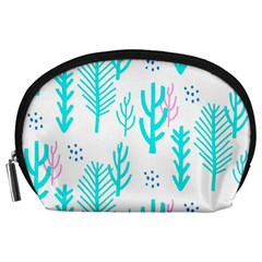 Forest Drop Blue Pink Polka Circle Accessory Pouches (large)  by Mariart
