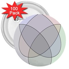 Four Way Venn Diagram Circle 3  Buttons (100 Pack)  by Mariart