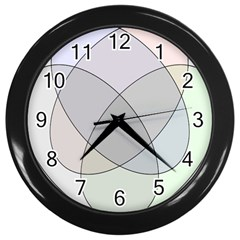 Four Way Venn Diagram Circle Wall Clocks (black) by Mariart