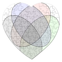 Four Way Venn Diagram Circle Jigsaw Puzzle (heart) by Mariart