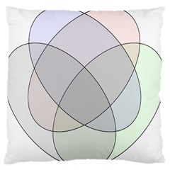 Four Way Venn Diagram Circle Large Flano Cushion Case (two Sides) by Mariart