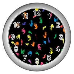 Hand And Footprints Wall Clocks (silver)  by Mariart