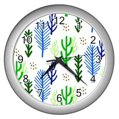 Forest Green Drop Blue Brown Polka Circle Wall Clocks (silver)