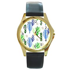 Forest Green Drop Blue Brown Polka Circle Round Gold Metal Watch by Mariart
