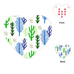 Forest Green Drop Blue Brown Polka Circle Playing Cards (heart)  by Mariart