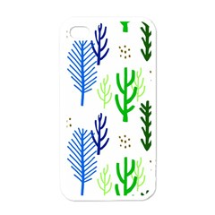 Forest Green Drop Blue Brown Polka Circle Apple Iphone 4 Case (white)