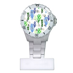 Forest Green Drop Blue Brown Polka Circle Plastic Nurses Watch by Mariart