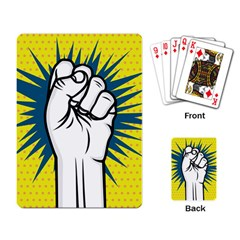 Hand Polka Dot Yellow Blue White Orange Sign Playing Card by Mariart