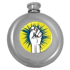 Hand Polka Dot Yellow Blue White Orange Sign Round Hip Flask (5 Oz) by Mariart