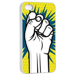 Hand Polka Dot Yellow Blue White Orange Sign Apple Iphone 4/4s Seamless Case (white) by Mariart
