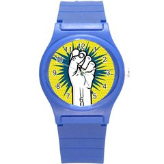 Hand Polka Dot Yellow Blue White Orange Sign Round Plastic Sport Watch (s) by Mariart