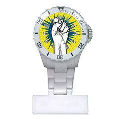 Hand Polka Dot Yellow Blue White Orange Sign Plastic Nurses Watch by Mariart