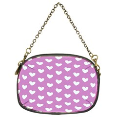Heart Love Valentine White Purple Card Chain Purses (one Side)  by Mariart