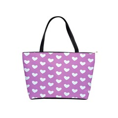 Heart Love Valentine White Purple Card Shoulder Handbags by Mariart