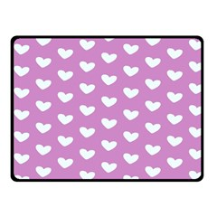 Heart Love Valentine White Purple Card Fleece Blanket (small) by Mariart