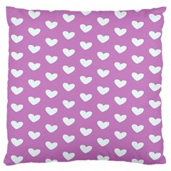 Heart Love Valentine White Purple Card Large Cushion Case (one Side) by Mariart