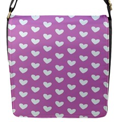 Heart Love Valentine White Purple Card Flap Messenger Bag (s) by Mariart