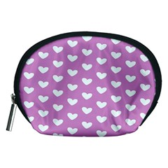 Heart Love Valentine White Purple Card Accessory Pouches (medium)  by Mariart