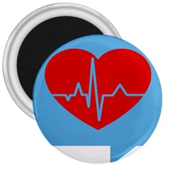 Heartbeat Health Heart Sign Red Blue 3  Magnets by Mariart