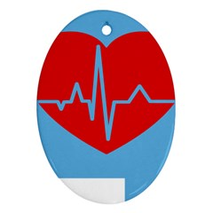 Heartbeat Health Heart Sign Red Blue Ornament (oval) by Mariart