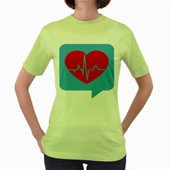 Heartbeat Health Heart Sign Red Blue Women s Green T-shirt by Mariart
