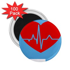 Heartbeat Health Heart Sign Red Blue 2 25  Magnets (100 Pack)  by Mariart