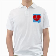 Heartbeat Health Heart Sign Red Blue Golf Shirts by Mariart
