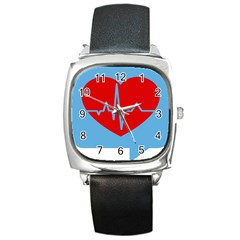 Heartbeat Health Heart Sign Red Blue Square Metal Watch by Mariart
