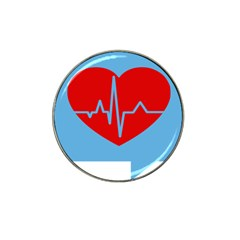 Heartbeat Health Heart Sign Red Blue Hat Clip Ball Marker (10 Pack) by Mariart