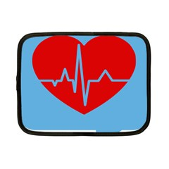 Heartbeat Health Heart Sign Red Blue Netbook Case (small)  by Mariart