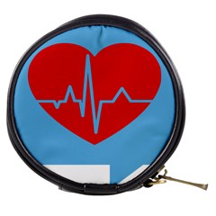 Heartbeat Health Heart Sign Red Blue Mini Makeup Bags by Mariart