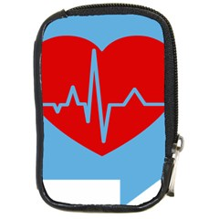 Heartbeat Health Heart Sign Red Blue Compact Camera Cases by Mariart
