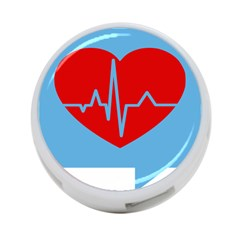 Heartbeat Health Heart Sign Red Blue 4 Port Usb Hub (two Sides)  by Mariart