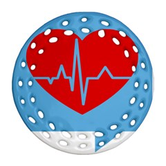 Heartbeat Health Heart Sign Red Blue Round Filigree Ornament (two Sides) by Mariart