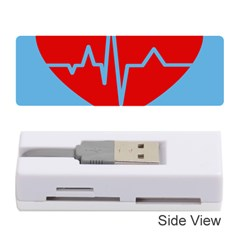 Heartbeat Health Heart Sign Red Blue Memory Card Reader (stick)  by Mariart