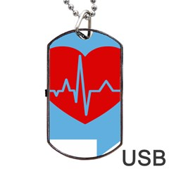 Heartbeat Health Heart Sign Red Blue Dog Tag Usb Flash (two Sides) by Mariart
