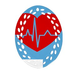 Heartbeat Health Heart Sign Red Blue Oval Filigree Ornament (two Sides) by Mariart