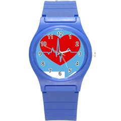 Heartbeat Health Heart Sign Red Blue Round Plastic Sport Watch (s) by Mariart
