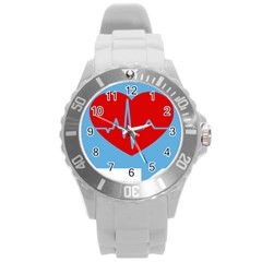 Heartbeat Health Heart Sign Red Blue Round Plastic Sport Watch (l) by Mariart