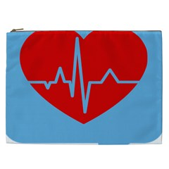 Heartbeat Health Heart Sign Red Blue Cosmetic Bag (xxl)  by Mariart