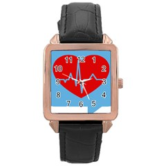 Heartbeat Health Heart Sign Red Blue Rose Gold Leather Watch  by Mariart