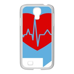 Heartbeat Health Heart Sign Red Blue Samsung Galaxy S4 I9500/ I9505 Case (white) by Mariart
