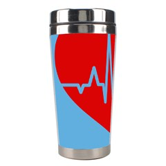 Heartbeat Health Heart Sign Red Blue Stainless Steel Travel Tumblers by Mariart