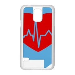 Heartbeat Health Heart Sign Red Blue Samsung Galaxy S5 Case (white) by Mariart