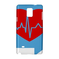Heartbeat Health Heart Sign Red Blue Samsung Galaxy Note 4 Hardshell Case by Mariart