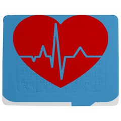 Heartbeat Health Heart Sign Red Blue Jigsaw Puzzle Photo Stand (rectangular) by Mariart
