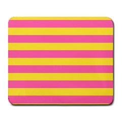 Horizontal Pink Yellow Line Large Mousepads by Mariart